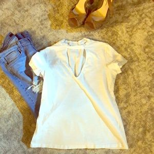 Tops - 3/$12 White T-shirt with cut out